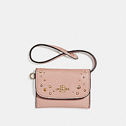 COACH F29323 - CARD POUCH WITH CELESTIAL STUDS NUDE PINK/LIGHT GOLD