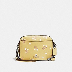 COACH F29347 Camera Bag With Floral Bow Print SUNFLOWER/DARK GUNMETAL
