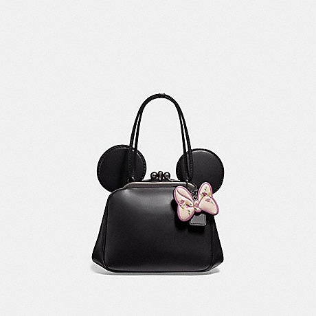 COACH f29349 KISSLOCK BAG WITH MINNIE MOUSE EARS ANTIQUE NICKEL/BLACK