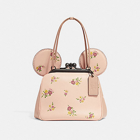 COACH f29351 KISSLOCK BAG WITH FLORAL MIX PRINT AND MINNIE MOUSE EARS<br>蔻驰KISSLOCK袋花卉混音打印和米妮耳朵 粉红葡萄酒多/浅黄金