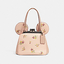 COACH F29351 Kisslock Bag With Floral Mix Print And Minnie Mouse Ears VINTAGE PINK MULTI/LIGHT GOLD