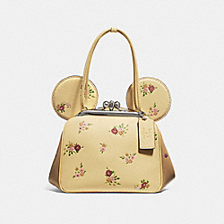 COACH F29351 Kisslock Bag With Floral Mix Print And Minnie Mouse Ears VANILLA MULTI/SILVER