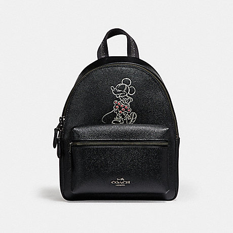 COACH F29353 MINI CHARLE BACKPACK WITH MINNIE MOUSE MOTIF ANTIQUE-NICKEL/BLACK