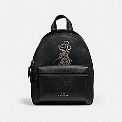 COACH F29353 Mini Charle Backpack With Minnie Mouse Motif ANTIQUE NICKEL/BLACK