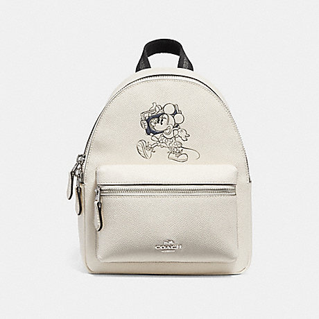COACH f29353 MINI CHARLE BACKPACK WITH MINNIE MOUSE MOTIF SILVER/CHALK