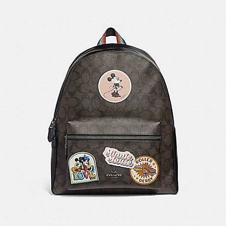 COACH f29355 CHARLIE BACKPACK IN SIGNATURE CANVAS WITH MINNIE MOUSE PATCHES BROWN/BLACK/BLACK ANTIQUE NICKEL