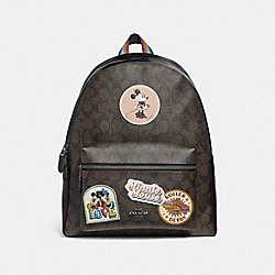 CHARLIE BACKPACK IN SIGNATURE CANVAS WITH MINNIE MOUSE PATCHES - f29355 - BROWN/BLACK/BLACK ANTIQUE NICKEL
