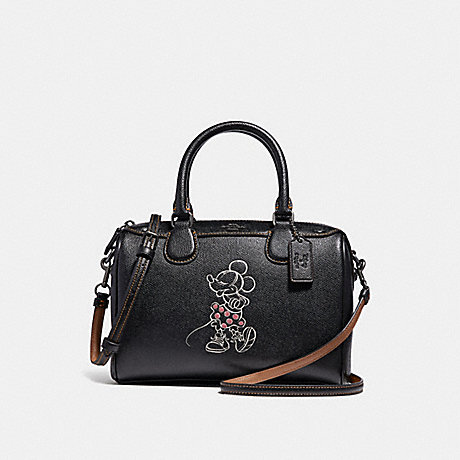COACH f29356 MINI BENNETT SATCHEL WITH MINNIE MOUSE MOTIF ANTIQUE NICKEL/BLACK