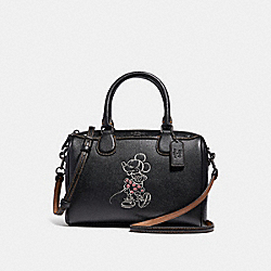 MINI BENNETT SATCHEL WITH MINNIE MOUSE MOTIF - f29356 - ANTIQUE NICKEL/BLACK