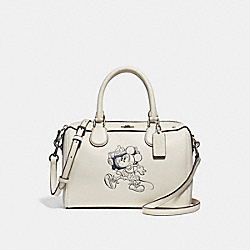 MINI BENNETT SATCHEL WITH MINNIE MOUSE MOTIF - f29356 - SILVER/CHALK