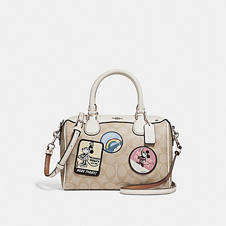 COACH f29357 MINI BENNETT SATCHEL IN SIGNATURE CANVAS WITH MINNIE MOUSE PATCHES SILVER/LIGHT KHAKI/CHALK