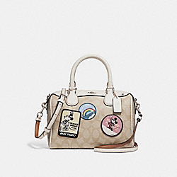 MINI BENNETT SATCHEL IN SIGNATURE CANVAS WITH MINNIE MOUSE PATCHES - f29357 - SILVER/LIGHT KHAKI/CHALK