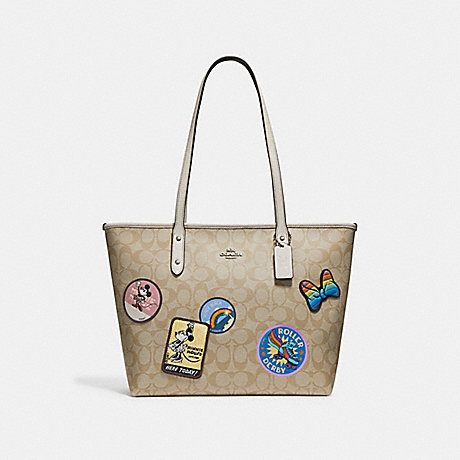 COACH f29358 CITY ZIP TOTE IN SIGNATURE CANVAS WITH MINNIE MOUSE PATCHES SILVER/LIGHT KHAKI/CHALK