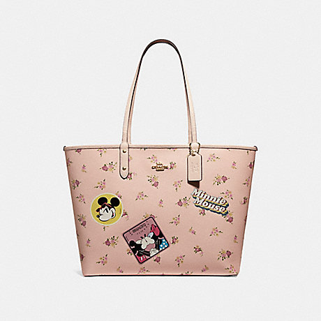 COACH f29359 REVERSIBLE CITY ZIP TOTE WITH FLORAL MIX PRINT AND MINNIE MOUSE PATCHES VINTAGE PINK MULTI/LIGHT GOLD
