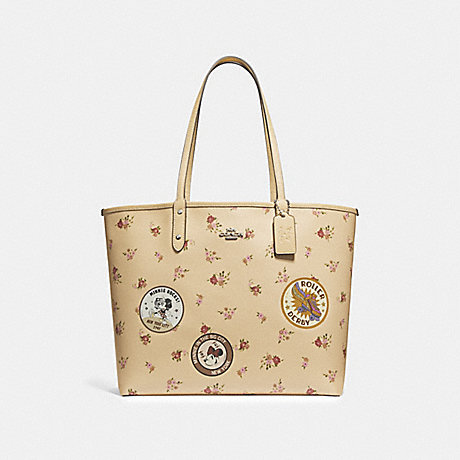 COACH f29359 REVERSIBLE CITY ZIP TOTE WITH FLORAL MIX PRINT AND MINNIE MOUSE PATCHES vanilla multi/silver