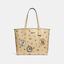 REVERSIBLE CITY ZIP TOTE WITH FLORAL MIX PRINT AND MINNIE MOUSE PATCHES - f29359 - vanilla multi/silver