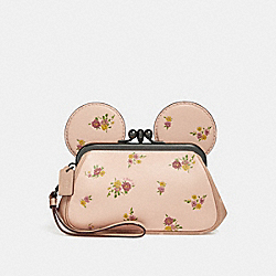 KISSLOCK WRISTLET WITH FLORAL MIX PRINT AND MINNIE MOUSE EARS - f29360 - VINTAGE PINK MULTI/LIGHT GOLD