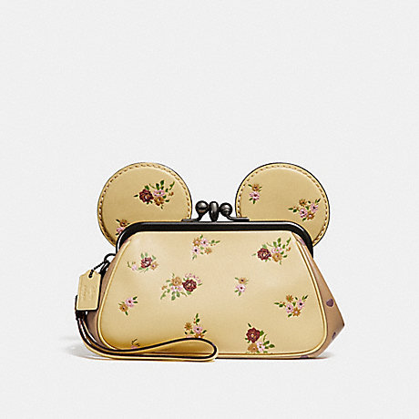 4c4c9a3ec11b COACH f29360 KISSLOCK WRISTLET WITH FLORAL MIX PRINT AND MINNIE MOUSE EARS  vanilla multi silver