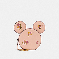 COACH F29365 Coin Case With Minnie Mouse Ears VINTAGE PINK MULTI/LIGHT GOLD