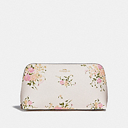 COSMETIC CASE 22 WITH FLORAL BUNDLE PRINT AND BOW ZIP PULL - f29366 - CHALK MULTI/IMITATION GOLD