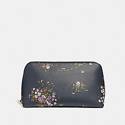 COSMETIC CASE 22 WITH FLORAL BUNDLE PRINT AND BOW ZIP PULL - f29366 - MIDNIGHT MULTI/IMITATION GOLD