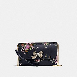 CHAIN CROSSBODY WITH FLORAL BUNDLE PRINT AND BOW TURNLOCK - f29367 - MIDNIGHT MULTI/IMITATION GOLD