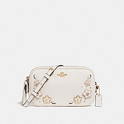 CROSSBODY POUCH WITH FLORAL APPLIQUE - f29370 - CHALK/IMITATION GOLD