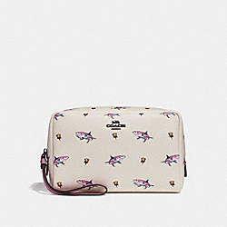 COACH F29373 Boxy Cosmetic Case 20 With Shark Rose Print BLACK ANTIQUE NICKEL/CHALK MULTI