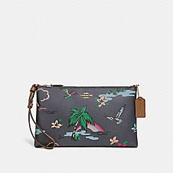 COACH F29376 Large Wristlet 25 With Scenic Hawaiian Print MIDNIGHT MULTI/IMITATION GOLD