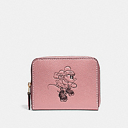 SMALL ZIP AROUND WALLET WITH MINNIE MOUSE MOTIF - f29377 - Vintage Pink/LIGHT GOLD