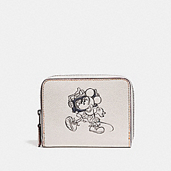 COACH F29377 Small Zip Around Wallet With Minnie Mouse Motif CHALK MULTI/SILVER