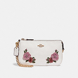 COACH F29378 Large Wristlet 19 With Hawaiian Floral Embroidery CHALK MULTI/IMITATION GOLD