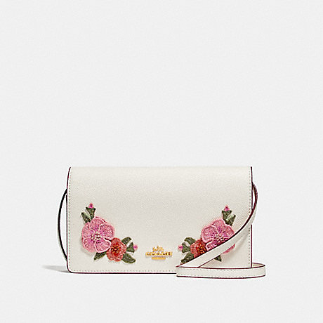 COACH f29379 FOLDOVER CROSSBODY CLUTCH  WITH HAWAIIAN FLORAL EMBROIDERY CHALK MULTI/IMITATION GOLD