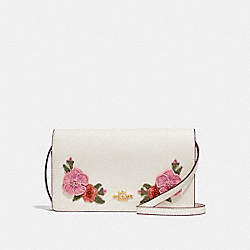FOLDOVER CROSSBODY CLUTCH  WITH HAWAIIAN FLORAL EMBROIDERY - f29379 - CHALK MULTI/IMITATION GOLD