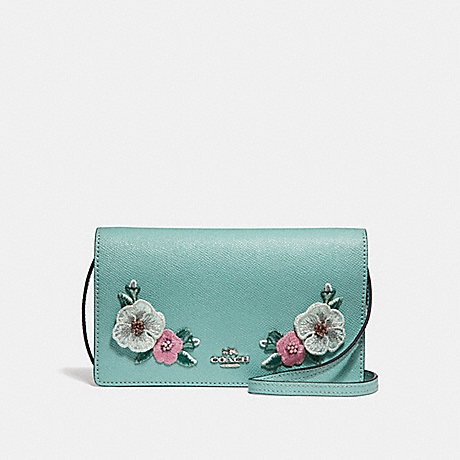 COACH f29379 FOLDOVER CROSSBODY CLUTCH  WITH HAWAIIAN FLORAL EMBROIDERY<br>蔻驰边斜背离合器与夏威夷花刺绣 SVNGV