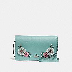 FOLDOVER CROSSBODY CLUTCH  WITH HAWAIIAN FLORAL EMBROIDERY - f29379 - SVNGV
