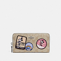 ACCORDION ZIP WALLET IN SIGNATURE CANVAS WITH MINNIE MOUSE PATCHES - f29380 - LIGHT KHAKI/CHALK 1/SILVER