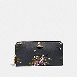 ACCORDION ZIP WALLET WITH FLORAL BUNDLE PRINT AND BOW ZIP PULL - f29384 - MIDNIGHT MULTI/IMITATION GOLD