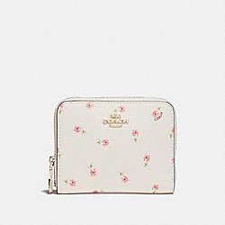 SMALL ZIP AROUND WALLET WITH DITSY DAISY PRINT - f29385 - CHALK MULTI/IMITATION GOLD