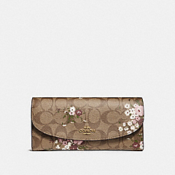 SLIM ENVELOPE WALLET IN SIGNATURE CANVAS WITH FLORAL BUNDLE PRINT - f29395 - khaki/multi/imitation gold