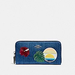 COACH F29399 Accordion Zip Wallet With Blue Hawaii Patches SVM64