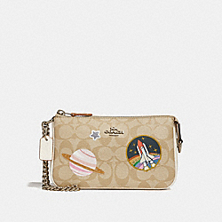 COACH F29403 Large Wristlet 19 In Signature Canvas With Space Patches SILVER/LIGHT KHAKI/CHALK