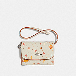 COACH F29408 - CARD POUCH WITH CONSTELLATION PRINT CHALK MULTI/BLACK ANTIQUE NICKEL