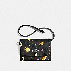 COACH F29408 Card Pouch With Constellation Print BLACK/MULTI/SILVER