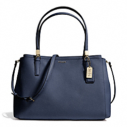 COACH F29422 Madison Saffiano Leather Christie Carryall LIGHT GOLD/NAVY