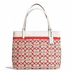 COACH F29423 - PRINTED SIGNATURE TOTE SILVER/LIGHT GOLDGHT KHAKI/LOVE RED