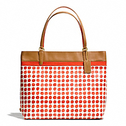 COACH F29431 - PAINTED DOT COATED CANVAS TOTE BRASS/LOVE RED MULTICOLOR