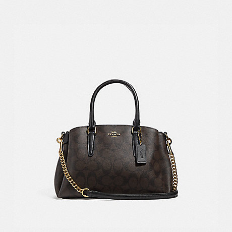 COACH f29434 MINI SAGE CARRYALL IN SIGNATURE CANVAS BROWN/BLACK/IMITATION GOLD