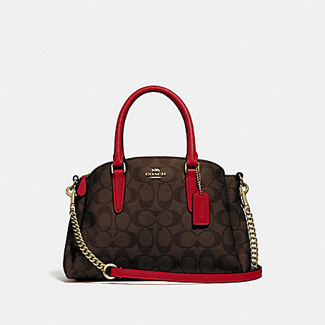 COACH F29434 MINI SAGE CARRYALL IN SIGNATURE CANVAS IM/BROWN-TRUE-RED