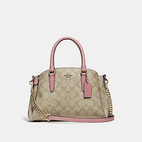 f971ed4d270ef COACH f29434 MINI SAGE CARRYALL IN SIGNATURE CANVAS light khaki vintage  pink imitation gold